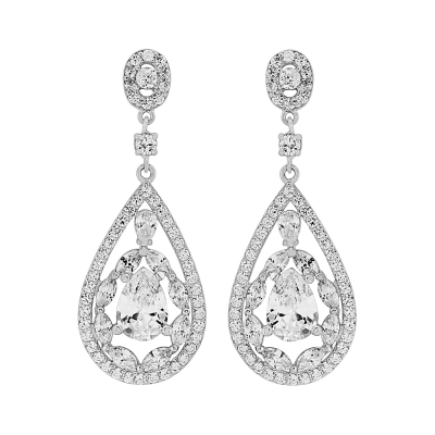 Cubic Zirconia Collection - Silver Screen Earrings - (ER309)