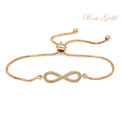 CUBIC ZIRCONIA COLLECTION - ADJUSTABLE CRYSTAL INFINITY BRACELET - ROSE GOLD (BRA25)