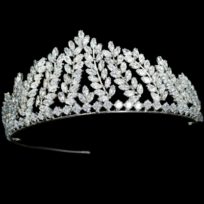CUBIC ZIRCONIA COLLECTION - EXQUISITE ENCHANTMENT TIARA - AHB 24- SILVER