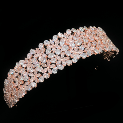 CUBIC ZIRCONIA COLLECTION - EXQUISITE STARLET HEADBAND - -AHB115 ROSE GOLD