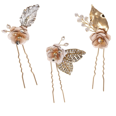 ATHENA COLLECTION - GLITZY PINK BLUSH HAIR PINS - GOLD PIN-43