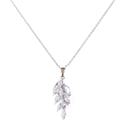 CUBIC ZIRCONIA COLLECTION - BELLA DAINTY DROP NECKLACE - CZER108 SILVER