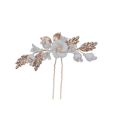 ATHENA COLLECTION - EXQUISITE LUXE FLOWER HAIR PIN - (PIN39) - GOLD