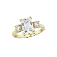 CUBIC ZIRCONIA COLLECTION - MEGHAN ADJUSTABLE RING - GOLD