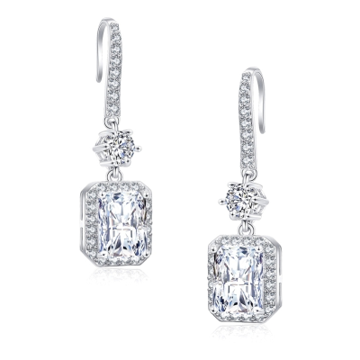 CUBIC ZIRCONIA COLLECTION - CRYSTAL GLAM EARRINGS - CZER513 SILVER