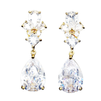 CUBIIC ZIRCONIA COLLECTION - EXQUISITE TEARDROP CRYSTAL EARRINGS - CZER485 GOLD