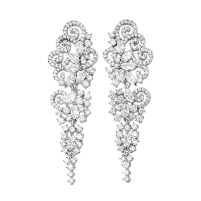 CUBIC ZIRCONIA COLLECTION - CRYSTAL EXTRAVAGANCE EARRINGS - CZER510 - SILVER