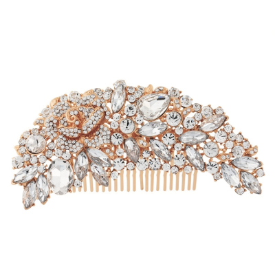 Exquisite Bridal Hair Comb - (HC6) ROSE GOLD