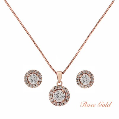 CUBIC ZIRCONIA COLLECTION - CHIC CRYSTAL NECKLACE SET - CZNK50 (ROSE GOLD)