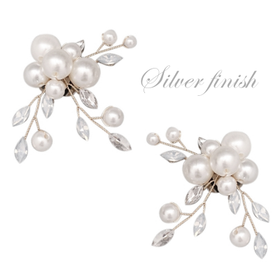 ATHENA COLLECTION - ETERNALLY PEARL SHOE CLIP - SC3 SILVER
