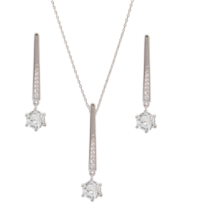 CUBIC ZIRCONIA COLLECTION - SHIMMER DROP NECKLACE SET - NK137 SILVER