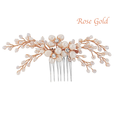 NITA Freshwater Pearl Comb - ROSE GOLD PLATED - SASSB (RG)