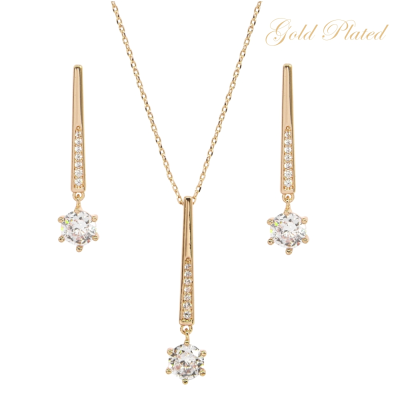 CUBIC ZIRCONIA COLLECTION - SHIMMER DROP NECKLACE SET- NK137 14K GOLD PLATED