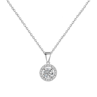 CUBIC ZIRCONIA COLLECTION - CHIC CRYSTAL NECKLACE SET - CZNK66 (SILVER)