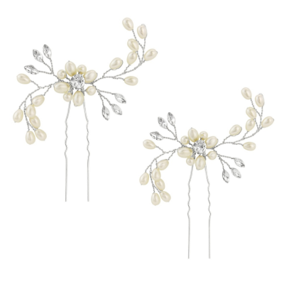 Athena Collection - Classic Hair Pins - Ivory (Silver) PIN22