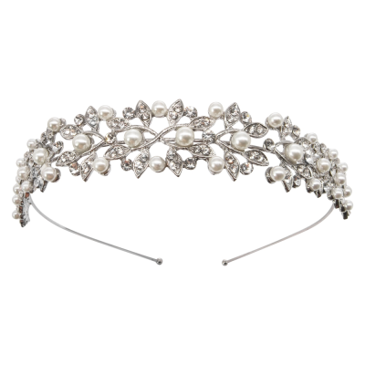 ATHENA COLLECTION - PEARLY HEADBAND - AHB33 SILVER