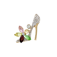 ATHENA COLLECTION - CRYSTAL GLAM BROOCH - GOLD - BROOCH 50