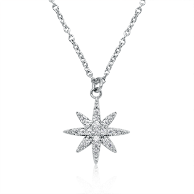 ATHENA COLLECTION - CRYSTAL STAR NECKLACE - CZNK85 SILVER