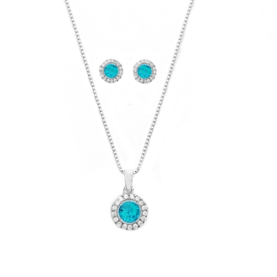 CUBIC ZIRCONIA COLLECTION - CHIC CRYSTAL NECKLACE SET - CZNK50 (AQUA)
