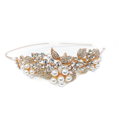 ATHENA COLLECTION - VINTAGE BLOOM HEADBAND - AHB-9 ROSE GOLD