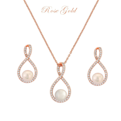 CUBIC ZIRCONIA COLLECTION - EXQUISITE NECKLACE SET(NK2) ROSE GOLD