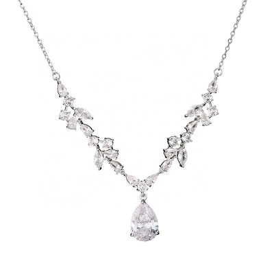 CUBIC ZIRCONIA COLLECTION - CRYSTALLURE NECKLACE - SILVER NK130