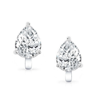 CUBIC ZIRCONIA COLLECTION - 2 CARAT CZ CLIP ON EARRINGS - CZER414 (CLIP ON)(SILVER)