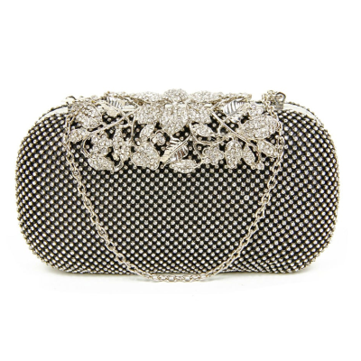VINTAGE VINE - CRYSTAL CLUTCH BAG - black