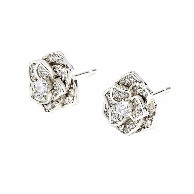 CUBIC ZIRCONIA COLLECTION - VINTAGE ROSE EARRINGS - SILVER  CZER553