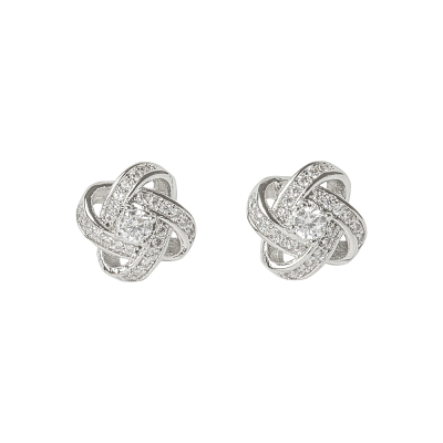 ATHENA COLLECTION - CRYSTAL KNOT BRIDAL EARRINGS - (CZER457) SILVER
