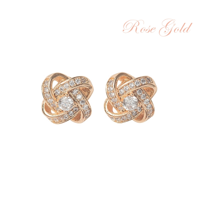 ATHENA COLLECTION - CRYSTAL KNOT BRIDAL EARRINGS - (CZER457) ROSE GOLD