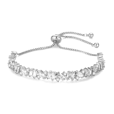 CUBIC ZIRCONIA COLLECTION - BEJEWELLED BRACELET - SILVER - BR106