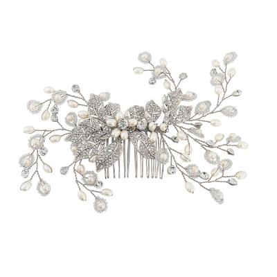 Athena Collection - Crystal Extravagance Hair Comb - HC152 (Silver )