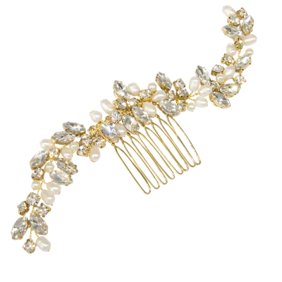 ATHENA COLLECTION - PEARL ALLURE HAIR COMB - HC198 GOLD