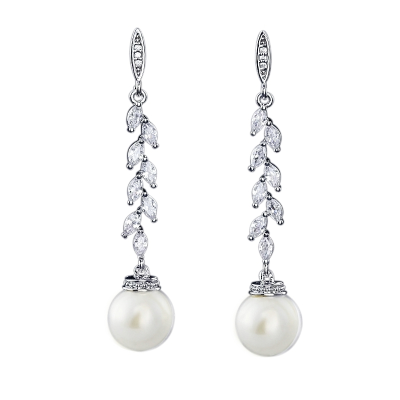 CUBIC ZIRCONIA COLLECTION - PEARL DROP EARRINGS - CZER474