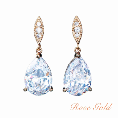 CUBIC ZIRCONIA COLLECTION - CLASSIC SPARKLE EARRINGS - CZER390 ROSE GOLD