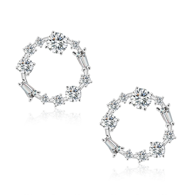 CUBIC ZIRCONIA COLLECTION - ETERNAL CRYSTAL EARRINGS - CZER556 SILVER