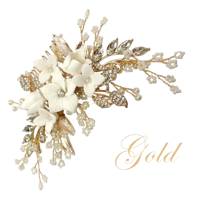 ATHENA COLLECTION -EXQUISITE FLORAL EMBELLISHED HAIR COMB - GOLD- HC173