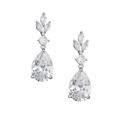 CUBIC ZIRCONIA COLLECTION - SIMPLY SPARKLE EARRINGS - CZER567 SILVER