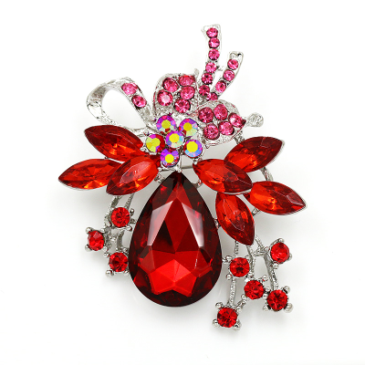 ATHENA COLLECTION - STARLET BROOCH - RED 44