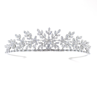 CUBIC ZIRCONIA COLLECTION - STARLET TIARA - AHB-50 SILVER