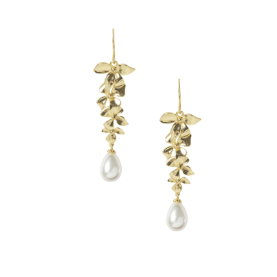 ATHENA COLLECTION - DELICATE ORCHID CHANDELIER EARRINGS - CZER455 GOLD