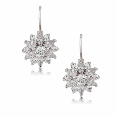 CUBIC ZIRCONIA - CRYSTAL SPARKLE EARRINGS - CZER382 SILVER