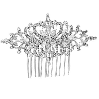 Vintage Starlet Crystal Hair Comb - Clear (HC49)