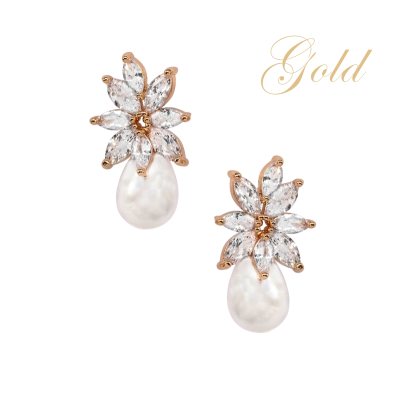 CUBIC ZIRCONIA COLLECTION - GRACEFUL PEARL EARRINGS - CZER511 GOLD