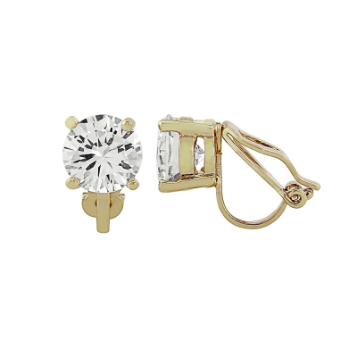 CUBIC ZIRCONIA COLLECTION - 8mm cz solitaire clip on Earrings - CZER401 (GOLD)