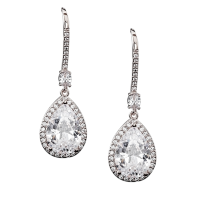 CUBIC ZIRCONIA COLLECTION - SPARKLE GEM EARRINGS - CZER562 SILVER
