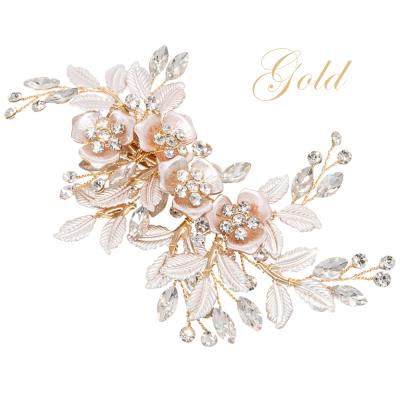 ATHENA COLLECTION - FLORAL ROMANCE HEADPIECE- HC222  GOLD