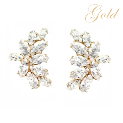ATHENA COLLECTION - GLAMOROUS CRYSTAL CLUSTER EARRINGS - (CZER494) CHAMPAGNE GOLD