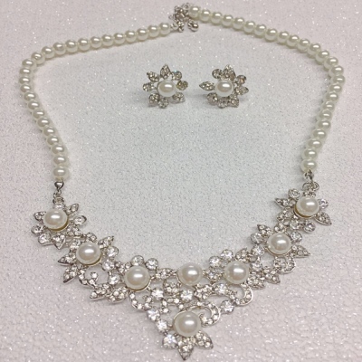 SALE ITEM -CRYSTAL AND PEARL  NECKLACE SET - MULTI(22)